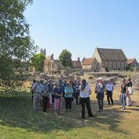 <p>Augustine&#39;s Abbey Guide, Georgina&nbsp;Morton-Brown, talks to Canterbury Branch&nbsp;members&nbsp;</p>